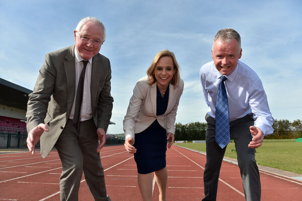 Barry O'Connor, president CIT; Aine Ni Shé, registrar and vice president academic affairs CIT and Michéal O'Draighéain, chairperson, Cork primary school sports on the track last year.