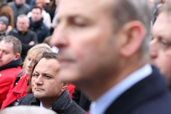 Michael Martin and Leo Varadkar pictured at the Drogheda march as public rally against violence took place following the murder and dismemberment of 17-year-old Keane Mulready-Woods..Pic Stephen Collins/Collins Photos