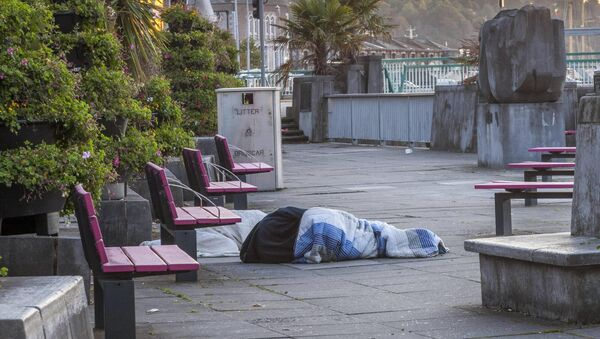 Two homeless people sleeping rough just off the South Mall in Cork City, Ireland. - Picture David Creedon