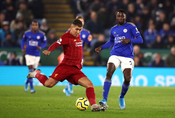 Liverpool's Roberto Firmino and Leicester City's Wilfred Ndidi battle for the ball in the Stephen's Day clash. Picture: Tim Goode/PA Wire.