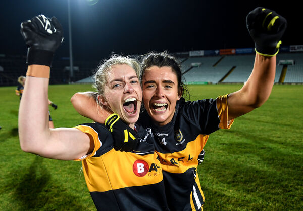 Kathryn Coakley, left, and Doireann O'Sullivan of Mourneabbey after the final whistle. Picture: Eóin Noonan/Sportsfile