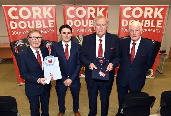 Suits Distributors' Luke O'Sullivan with Gerald McCarthy, Dr Con Murphy and Billy Morgan at the launch of the new shirts honouring the double in 1990.