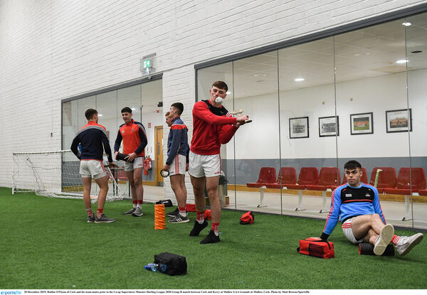 Robbie O'Flynn and his team-mates prior to the Co-op Superstores Munster Hurling League 2020 Group B match against Kerry at Mallow. Picture: Matt Browne/Sportsfile