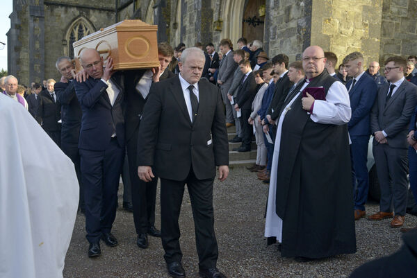 Pictured at St Peters Church Bandon Co Cork was Bishop of Cork and Ross Paul Colton and class mates who formed a guard of honor as the family carry the remains of Cameron Blair before his burial at Kilbeg Cemetary. Picture Denis Boyle