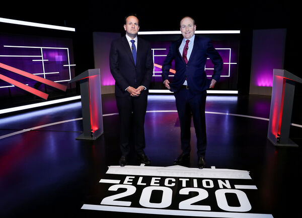 Taoiseach and Fine Gael leader Leo Varadkar and Fianna Fáil Leader Micheál Martin at the Virgin Media Television Studios for the Election 2020 Debate.