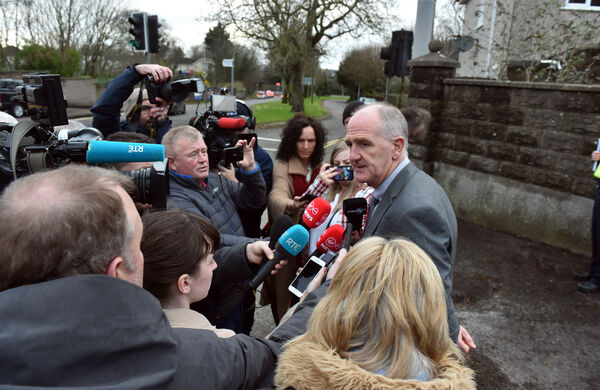 Superintendent Michael Comyns speaking to the media after a body was discovered at Castlegreina House, on Boreenmanna Road, CorkPicture: Eddie O'Hare.