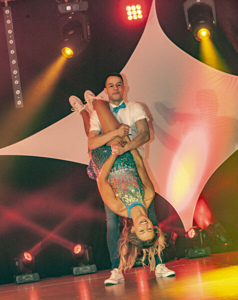 Yerick Kelly and his dance partner Rebecca Myers, who came second, performing on stage at the Strictly Brian Dillons 2020 fundraising dance show which took place at the Clayton Hotel Silver Springs.Pic: Brian Lougheed
