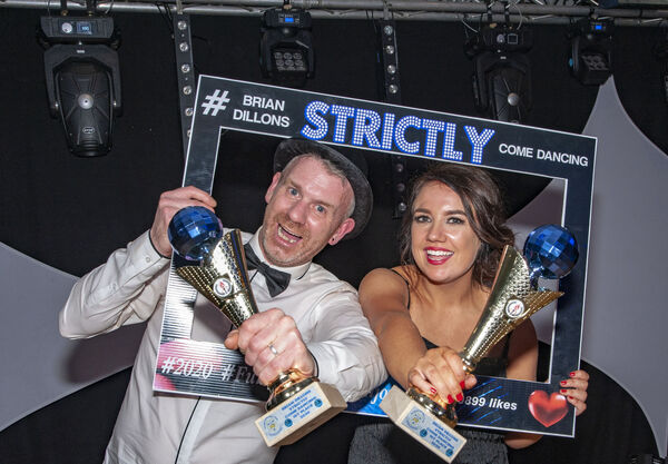 Michael O'Carroll and his dance partner Emma Burns who won the Strictly Brian Dillons 2020 Come Dancing which took place at the Clayton Hotel Silver Springs.Pic: Brian Lougheed