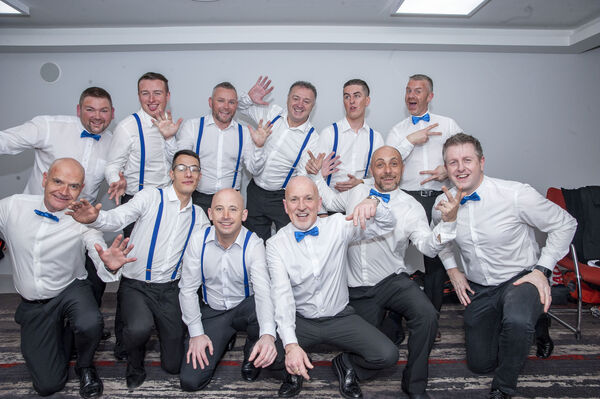 The group of male contestants who took part in the Strictly Brian Dillons 2020 fundraising dance show which took place at the Clayton Hotel Silver Springs.Pic: Brian Lougheed