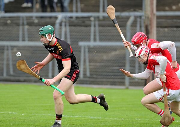 Shane Kingston, CBC Cork, gets away from Eoghan Martin and Jack McGann, Midleton CBS. Picture: Jim Coughlan