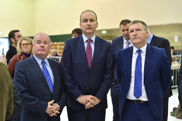 Cllr. Terry Shannon, Micheál Martin TD, Michael McGrath TD, at the count centre at Nemo Rangers GAA club, Cork. Picture Dan Linehan