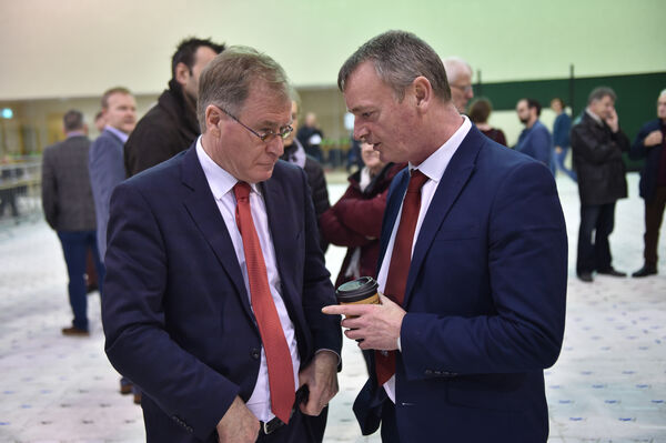 Colm Burke and Cllr. Fergal Dennehy at the count centre at Nemo Rangers, Douglas, Cork. Picture Dan Linehan