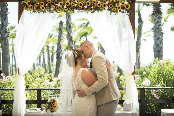 A secret garden proved the  venue for the couple's ceremony.