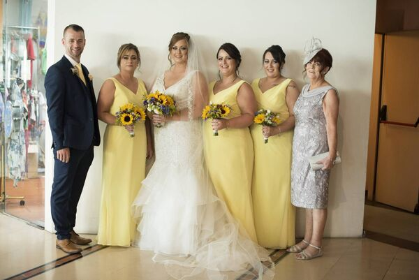 Bride Dawn Fitzgerald with her bridal party.