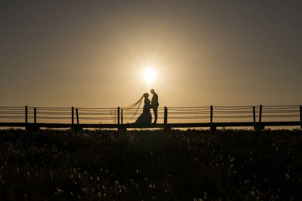 The couple as the sun went down on their wedding day.