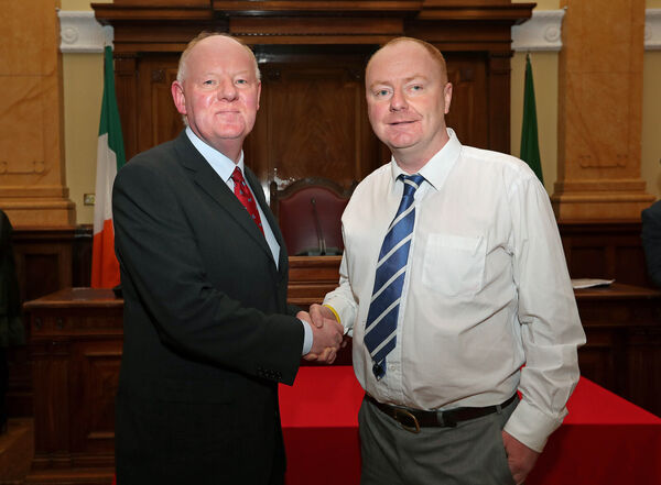Lord Mayor Cllr John Sheehan, welcomes Cllr Mick Nugent, at his Co-Option to Cork City Council.Picture: Jim Coughlan