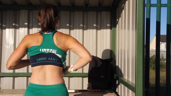 The sports bra, made by Queen B for the Irish Hockey team.