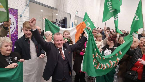 Sinn Féin's Pat Buckley greeted by supporters at the count centre in Mallow. He is set to top the poll in Cork East.
