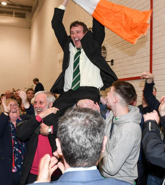 Fianna Fail candidate Aindrias Moynihan, celebrating with his supporters after he was elected at the general election count of the Cork North West constituency, at the Mallow GAA Complex, Co Cork.Picture: David Keane.EEXXjob Echo Exam News09.02.2020