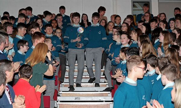 Pictured are, Cormac Harris and Alan O'Sullivan, 2020 BT Young Scientist winners, welcomed into the school, during their homecoming at Colaiste Choilm, Ballincollig, Cork.Picture: Jim Coughlan