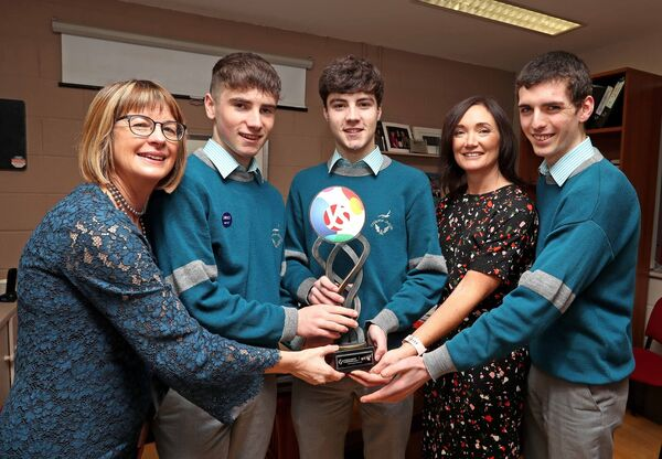 Pictured are Alan O'Sullivan and Cormac Harris, 2020 BT Young Scientist winners, with Michelle Sliney, Principal Colaiste Choilm, Karina Lyne, BT Young Scientist Mentor and Science teacher at Colaiste Choilm and 2018 BT Winner, Simon MeehanPicture: Jim Coughlan