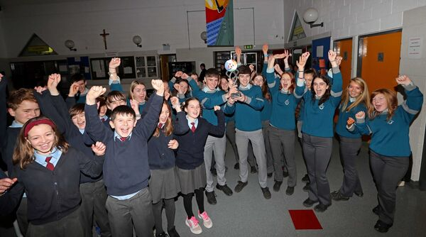 Pictured are, Alan O'Sullivan and Cormac Harris, 2020 BT Young Scientist winners, welcomed by their TY Classmates.Picture: Jim Coughlan