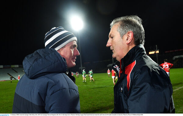 Limerick manager John Kiely with Cork manager Kieran Kingston. Picture: Piaras Ó Mídheach/Sportsfile