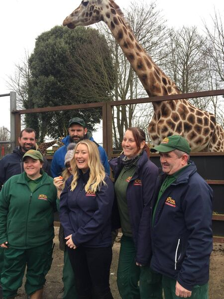 Fota: Into the Wild presenter Andrea Hayes with rangers and giraffes at Fota Wildlife Park