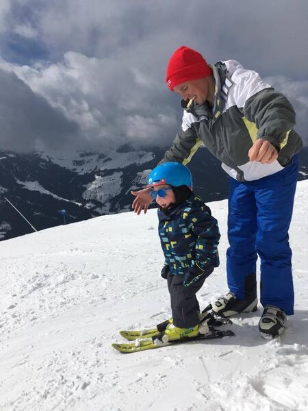 Noah Myers and his dad Denis skiing on the slopes of the Alps in Austria in March 2017