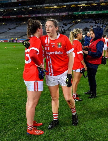 Áine O'Sullivan, right, and Shauna Kiely of Cork congratulate each other on Saturday night. Picture: Seb Daly/Sportsfile