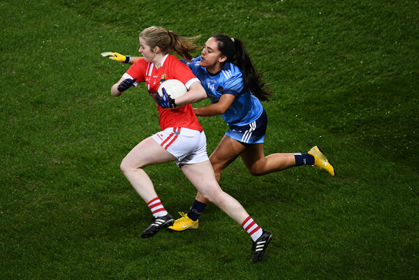 Róisín Phelan of Cork in action against Hannah O'Neill of Dublin at Croke Park. Picture: Stephen McCarthy/Sportsfile