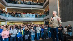 Apple boss Tim Cook celebrates 40 years in Cork with staff at Hollyhill plant: 'Here's to the next 40!""