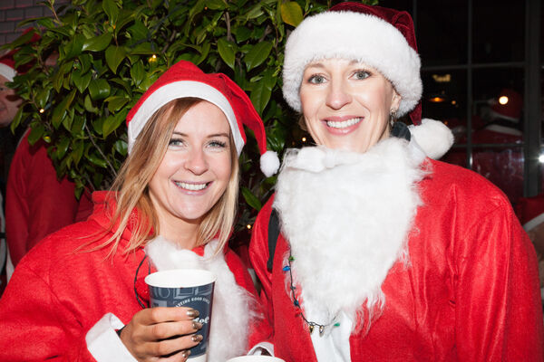 Valda Lenehan and Deirdre Quirke who took part in the Santa Cycle in Cork to raise funds for the Cappagh National Orthopaedic Hospital. Picture: David Creedon