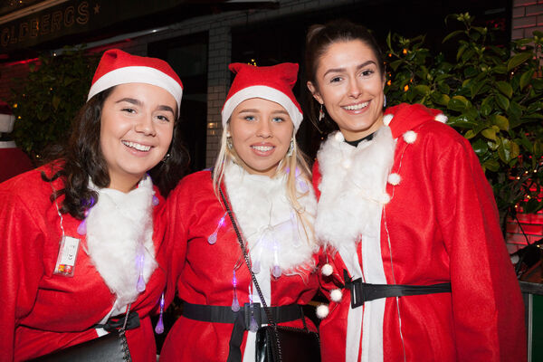 Abbey Cummings, Julie Wiseman and Anna Lucey who took part in the Santa Cycle in Cork to raise funds for the Cappagh National Orthopaedic Hospital. Picture; David Creedon