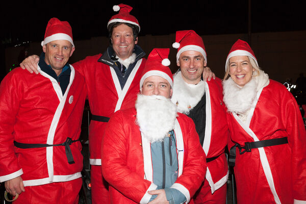 Keith McKlean, Peter Creighton, Ruairi Walsh, Glenn McCarthy and Kerryann Creighton who took part in the Santa Cycle in Cork to raise funds for the Cappagh National Orthopaedic Hospital. Picture; David Creedon