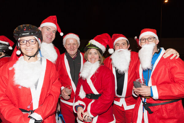Sheila de Burca, Mark Power, Willie Burke, Lorraine Wallace, Stephan O' Riordan and John Lucey who took part in the Santa Cycle in Cork to raise funds for the Cappagh National Orthopaedic Hospital. Picture; David Creedon