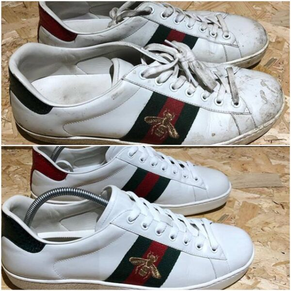 A pair of Gucci trainers before and after a deep clean by Sneaky Clean.