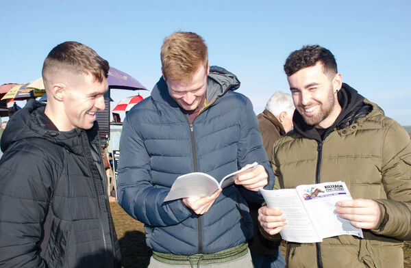 Daniel Collins, Dave Ryan and Barry Walsh from Youghal studying the Form at the Killeagh Point to Point. Picture: Howard Crowdy