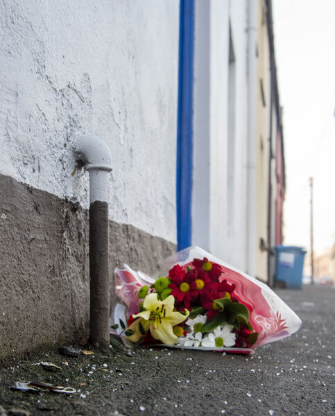 Flowers left outside the house on the Bandon Road, Cork, where CIT student Cameron Blair was killed. Picture Dan Linehan