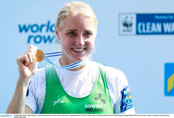 Sanita Puspure with her gold medal. Picture: Andreas Pranter/Gepa Pictures/Sportsfile