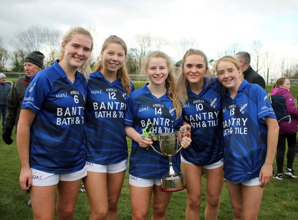 Kate McCarthy, Megan McSweeney, Eve O'Sullivan, Caitlin O'Mahony and Zara Barry following Bantry Blues' 2019 Cork LGFA minor county D final replay victory over Naomh Fionnbarra in Bantry.