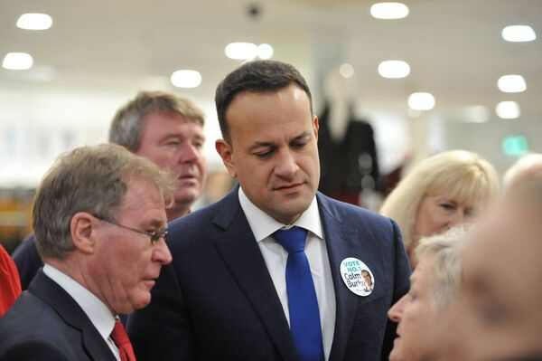 The Taoiseach Leo Varadkar and Senator Colm Burke at Blackpool Shopping Centre. Pic; Larry Cummins.