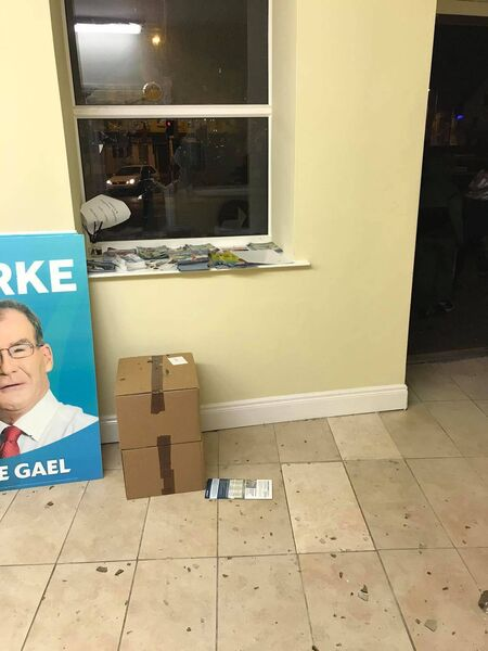 Gardai are investigating an alleged act of vandalism at the Cork office of Fine Gael election candidate Colm Burke.