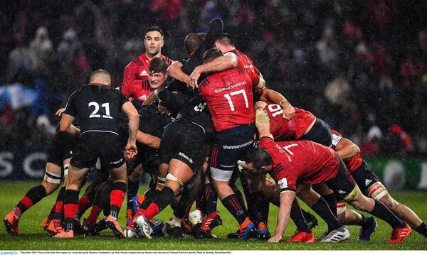 7 December 2019; Players from both sides engage in a scrum during the Heineken Champions Cup Pool 4 Round 3 match between Munster and Saracens at Thomond Park in Limerick. Photo by Brendan Moran/Sportsfile