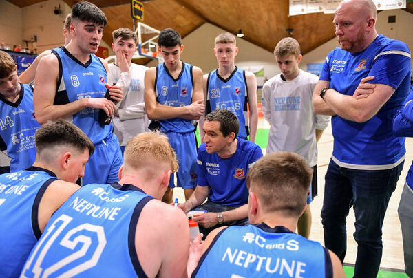 Neptune coach Keith Daly speaks to his players during a timeout during the Hula Hoops U18 Men's National Cup Final between Neptune and Belfast Star at the National Basketball Arena in Tallaght, Dublin. Photo by Brendan Moran/Sportsfile *** NO REPRODUCTION FEE ***