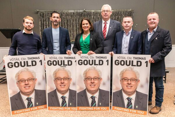 Sinn Féin Cork North Central By-Election Campaign Launch at the Commons Inn, including Donnchadh O'Laoghaire TD, Jonathan O'Brien TD, Sinn Fein President Mary Lou McDonald TD, By-Election Candidate Cllr Thomas Gould, Cllr Kenneth Collins & Pat Buckley TD. Pic: Mark Farrell.