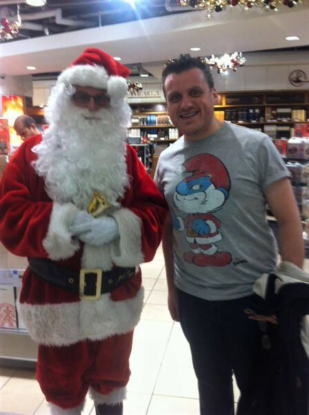 MEETING SANTA: Damien Tracey before he underwent stem cell treatment.