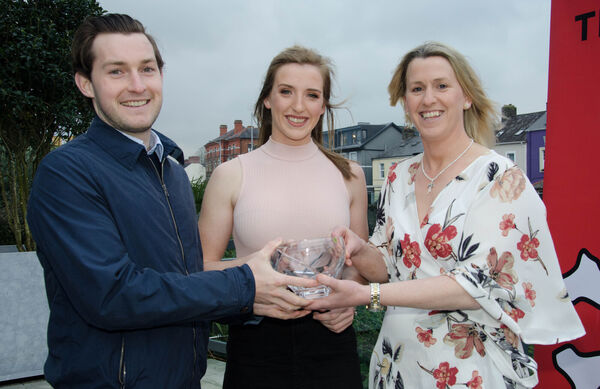 Mary O'Connor, CEO Federation of Irish Sport, pictured making presentations to Paul O'Donovan and Emily Hegarty at the UCC Sports Star Awards. Picture: Howard Crowey