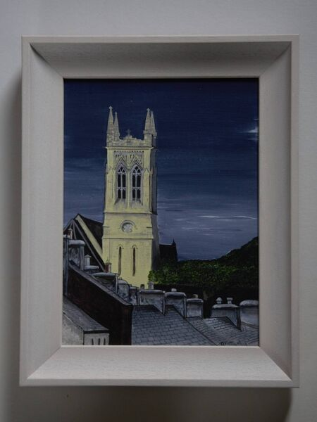 A painting by Deirdre Pattwell called 'Bandon Church'.