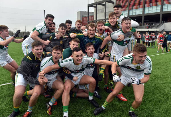St Michael's players celebrate after defeating Ballincollig in the Cork County under 21 A FC final at Pairc Ui Chaoimh.Picture: Eddie O'Hare